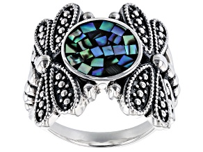 Pre-Owned Mosaic Abalone Shell Sterling Silver Dragonflies Ring