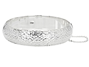 Pre-Owned Sterling Silver Diamond-Cut Hinged 15MM Bangle Bracelet