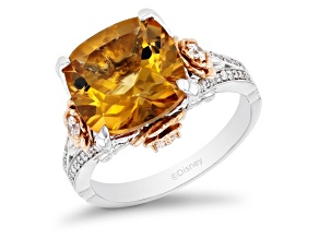 Pre-Owned Enchanted Disney Belle Rose Ring White Diamond And Citrine 10k Two-Tone 5.30ctw