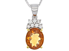 Pre-Owned Yellow Brazilian Citrine Sterling Silver Pendant With Chain 2.11ctw