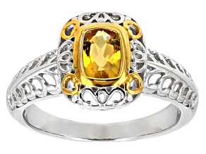 Pre-Owned Yellow Heliodor Two-Tone Sterling Silver Ring .69ct