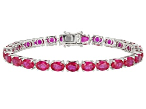Pre-Owned Red Lab Created Ruby Rhodium Over Sterling Silver Bracelet 25.40ctw