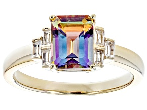 Pre-Owned Multicolor Northern Lights(TM) Quartz 18K Yellow Gold over Silver Ring 1.75ctw