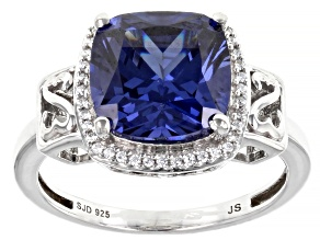 Pre-Owned Blue And White Cubic Zirconia Rhodium Over Sterling Silver Ring 7.70ctw