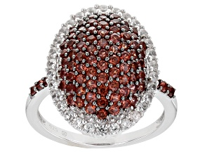 Pre-Owned Red Garnet Rhodium Over Sterling Silver Ring 1.81ctw