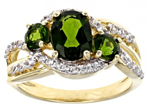 Pre-Owned Green Russian Chrome Diopside 18K Yellow Gold Over Sterling Silver Ring 2.01ctw