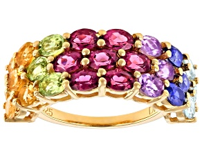 Pre-Owned Multi Gemstone 18k Yellow Gold Over Sterling Silver Ring 4.33ctw
