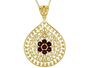 Pre-Owned Red Garnet 18K Yellow Gold Over Sterling Silver Pendant With Chain. 1.13ctw