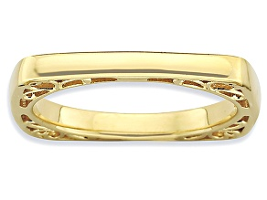 Pre-Owned 14k Yellow Gold Over Sterling Silver Textured Square Band Ring