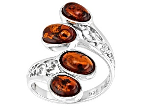 Pre-Owned Orange Amber Rhodium Over Sterling Silver Ring.