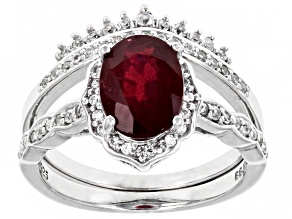 Pre-Owned Red Mahaleo(R)  Ruby Rhodium Over Sterling Silver Set of 2 Rings 2.64ctw