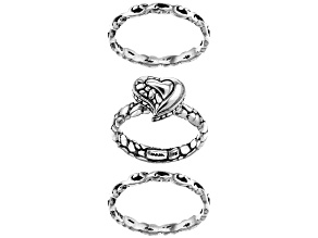 """Pre-Owned Sterling Silver """"Love Never Ends"""" Stackable Set of Three Rings"""