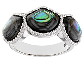 Pre-Owned Abalone Shell Sterling Silver Band Ring