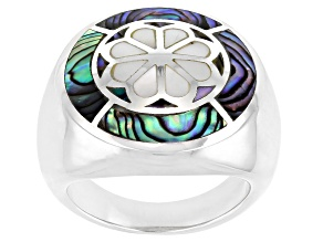 Pre-Owned Mosaic Abalone Shell & Mother-Of-Pearl Rhodium Over Sterling Silver Ring