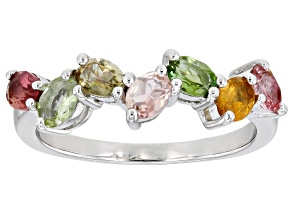 Pre-Owned Multi Color Tourmaline Rhodium Over Sterling Silver Ring 1.19ctw