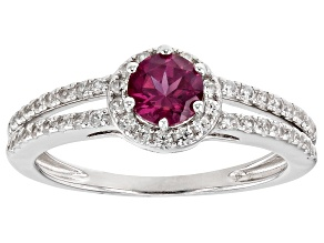 Pre-Owned Pink Garnet Rhodium Over Sterling Silver Ring 0.95ctw