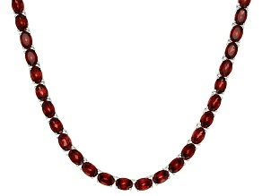 Pre-Owned Red Vermelho Garnet(TM) Rhodium Over Sterling Silver Tennis Necklace 35.52ctw