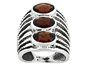 Pre-Owned Red Garnet Sterling Silver Ring 4.00ctw
