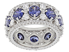 Pre-Owned Blue And White Cubic Zirconia Rhodium Over Silver Ring 11.27ctw