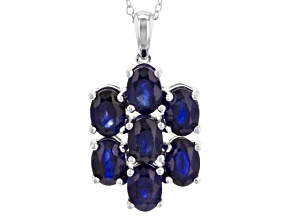 Pre-Owned Blue Mahaleo Sapphire Rhodium Over Sterling Silver Pendant With Chain 4.41ctw