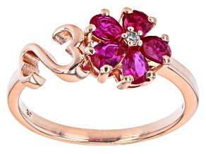 Pre-Owned Raspberry Lab Created Ruby And White Cubic Zirconia 14k Rose Gold Over Sterling Silver Flo