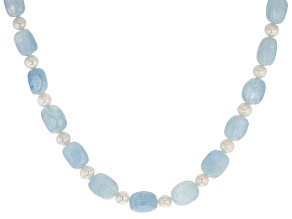 Pre-Owned White Cultured Freshwater Pearl & Aquamarine Rhodium Over Sterling Silver 20 Inch Necklace