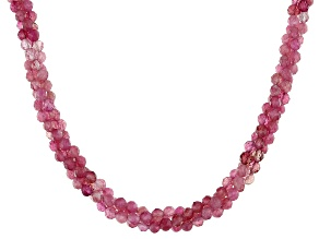 Pre-Owned Pink Tourmaline Beaded Sterling Silver Necklace Approximately 85.00ctw