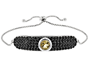 Pre-Owned Golden citrine rhodium over silver bolo bracelet 5.07ctw
