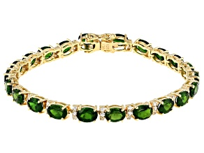 Pre-Owned Green Chrome Diopside 18K Yellow Gold Over Silver Bracelet 14.35ctw