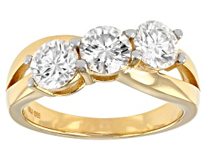 Pre-Owned Moissanite 14k Yellow Gold Over Silver Three Stone Ring 1.80ctw DEW
