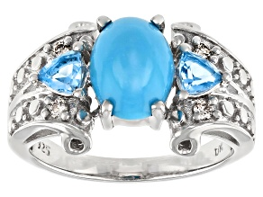 Pre-Owned Blue Sleeping Beauty Turquoise Rhodium Over Sterling Silver Ring 0.56ctw