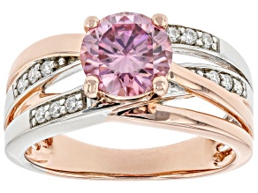 Pre-Owned Pink and colorless moissanite 14k rose gold and  platineve over silver two tone ring 1.62c