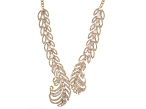 Pre-Owned White Crystal Gold Tone Feather Necklace.