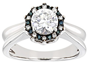 Pre-Owned Moissanite and blue diamond platineve ring 1.10ctw DEW.