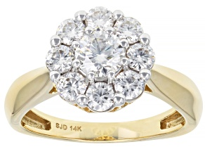 Pre-Owned Moissanite 14k Yellow Gold Ring 1.30ctw DEW.