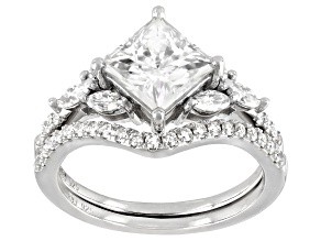 Pre-Owned Moissanite Platineve Ring With Band 2.79ctw DEW.