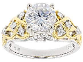Pre-Owned Moissanite Platineve And 14k Yellow Gold Over Platineve Ring 2.20ctw DEW.