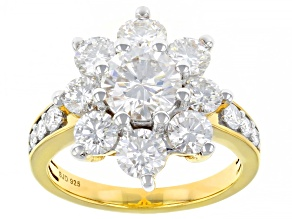 Pre-Owned Moissanite 14k yellow gold over sterling silver ring 3.32ctw DEW.