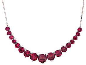 Pre-Owned Red Lab Created Ruby Rhodium Over Sterling Silver Sliding Adjustable Necklace 25.51ctw