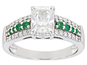 Pre-Owned Moissanite And Zambian Emerald Platineve Ring 2.04ctw D.E.W