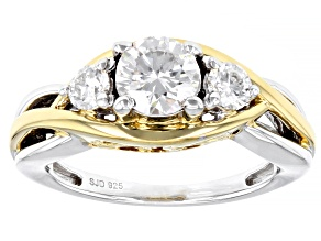 Pre-Owned Moissanite Platineve And 14k Yellow Gold Over Platineve Ring 1.22ctw DEW