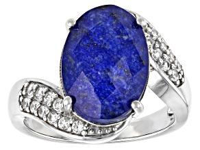 Pre-Owned Blue Lapis Quartz Doublet Rhodium Over Silver Ring 0.39ctw