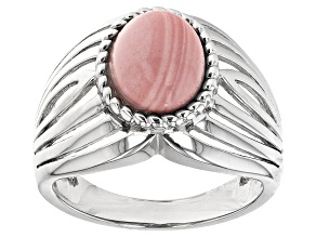 Pre-Owned Pink Mookaite Rhodium Over Sterling Silver Solitaire Ring