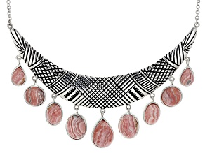 Pre-Owned Sterling Silver Cabochon Rhodochrosite Necklace