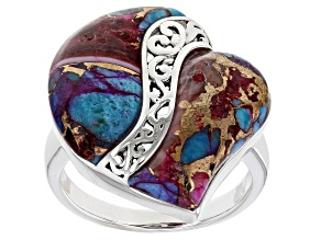 Pre-Owned Purple Spiny Oyster Shell and Blue Turquoise Rhodium Over Silver Heart Ring