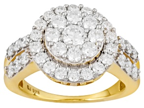 Pre-Owned Cubic Zirconia 18k Yellow Gold Over Silver Ring 3.37ctw (1.63ctw DEW)