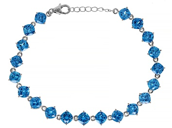 Picture of Pre-Owned Blue Cubic Zirconia Rhodium Over Sterling Silver Bracelet 30.71ctw