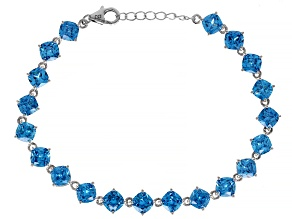 Pre-Owned Blue Cubic Zirconia Rhodium Over Sterling Silver Bracelet 30.71ctw