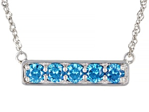 Pre-Owned Blue Cubic Zirconia Rhodium Over Sterling Silver Necklace 3.00ctw