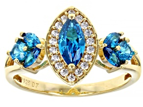 Pre-Owned Blue And White Cubic Zirconia 18K Yellow Gold Over Sterling Silver Ring 1.90ctw